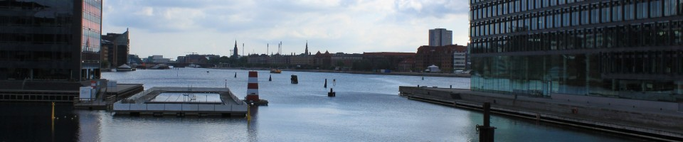 "Copenhagen seen from a special bicycle path on ""the firs t floor"" in the harbour"
